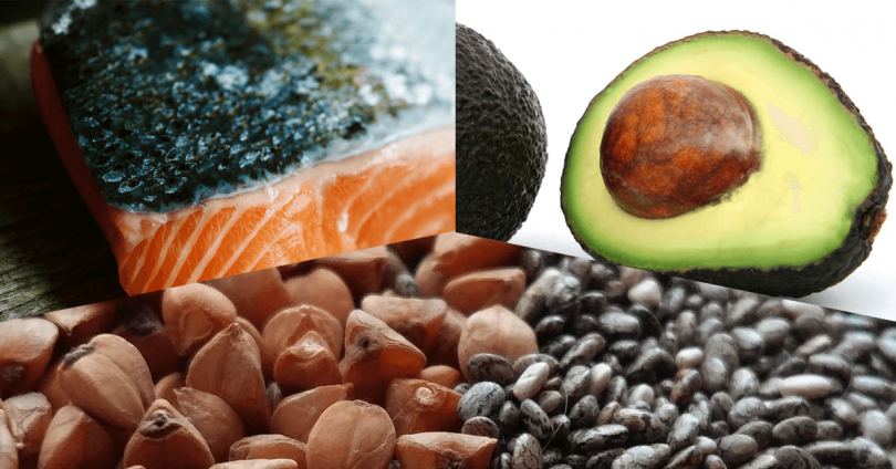 keto diet foods - avocado, salmon, chia seeds